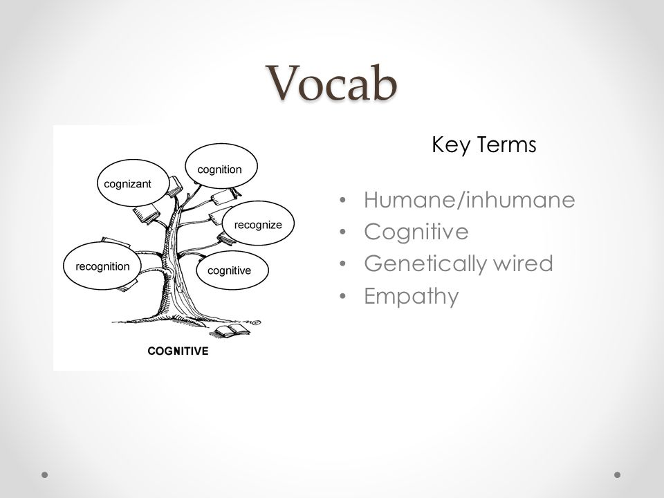 Vocab Word Tree Key Terms Humane/inhumane Cognitive Genetically wired