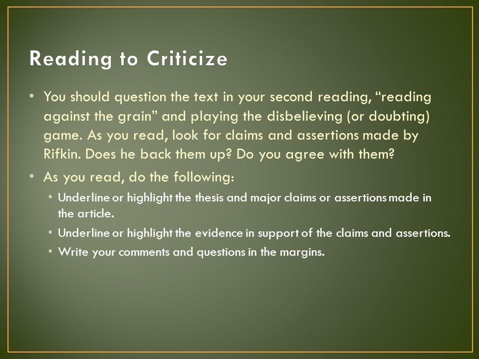 Reading to Criticize