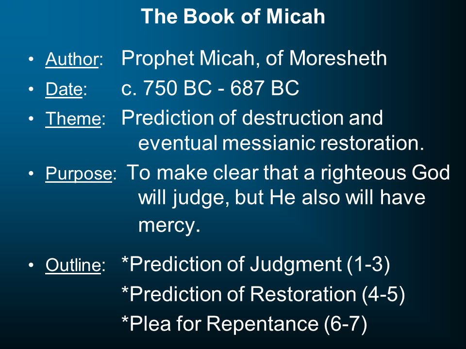*Prediction of Restoration (4-5) *Plea for Repentance (6-7)