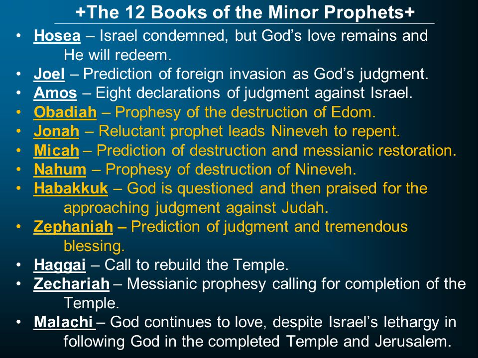 +The 12 Books of the Minor Prophets+