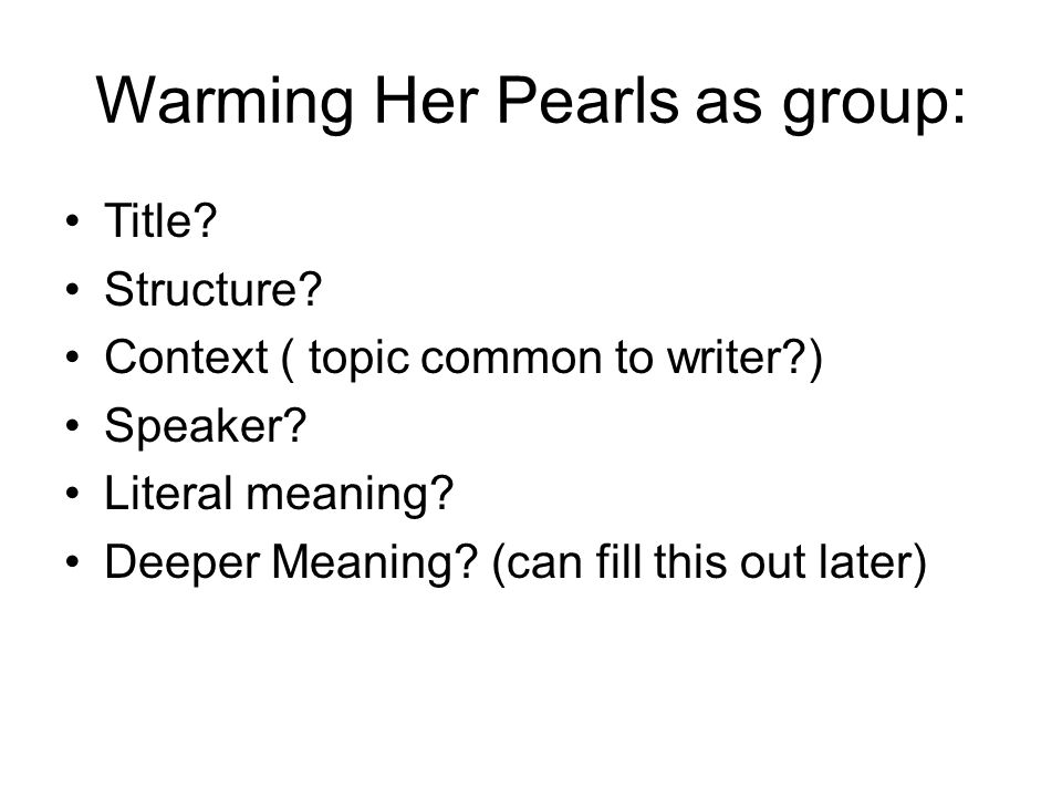 Warming Her Pearls as group: