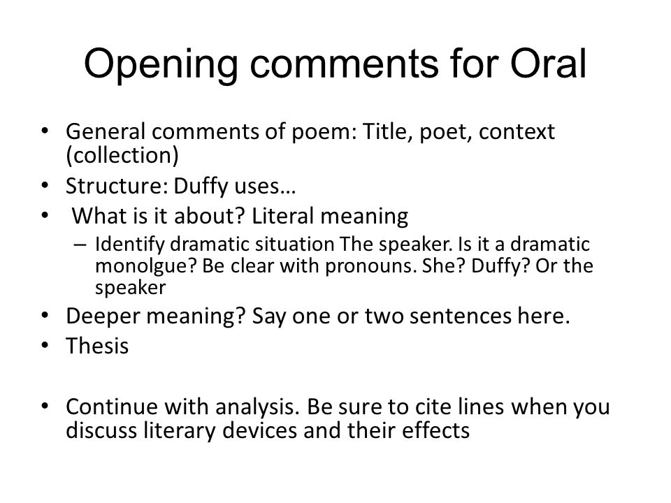 Opening comments for Oral