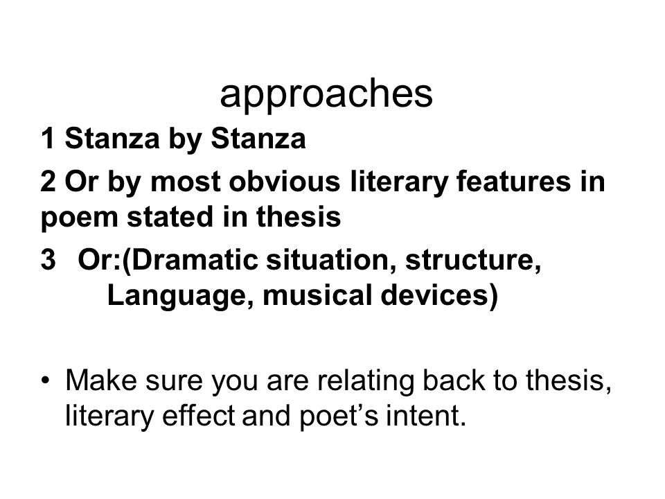 approaches 1 Stanza by Stanza