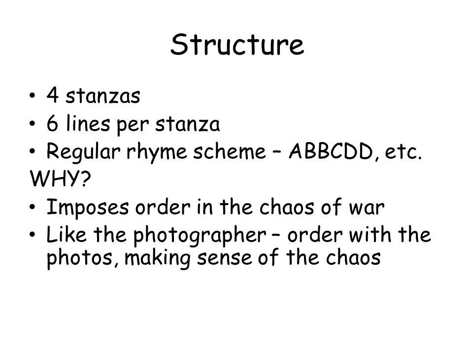 Structure 4 stanzas 6 lines per stanza