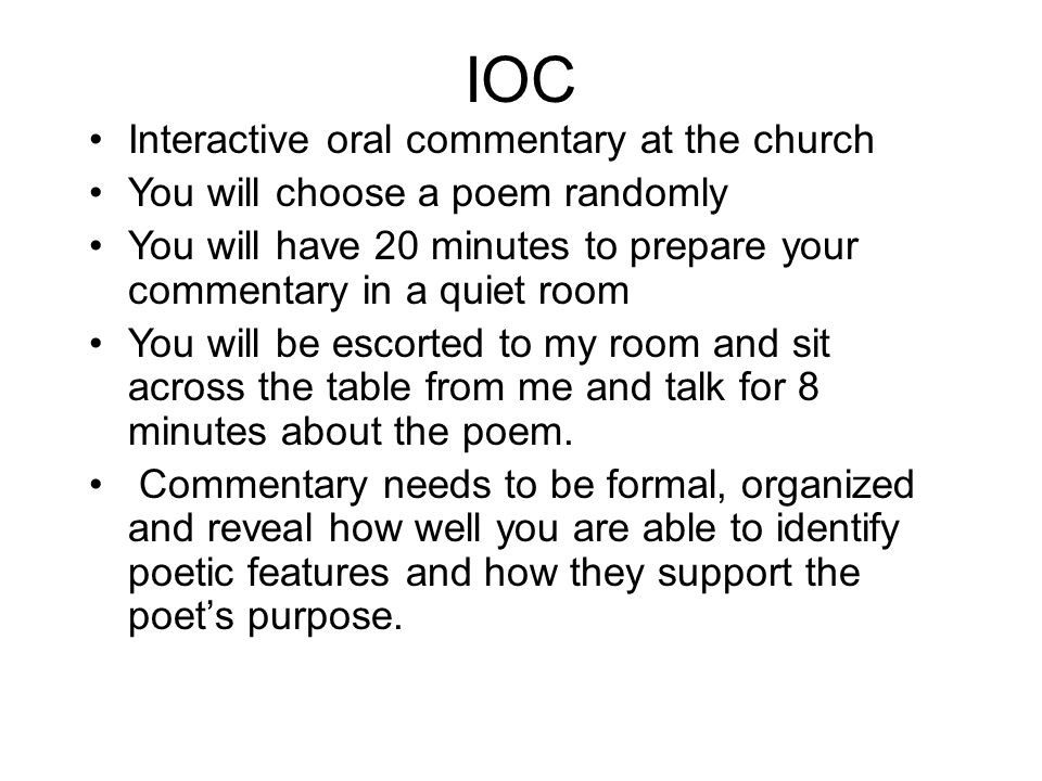 IOC Interactive oral commentary at the church