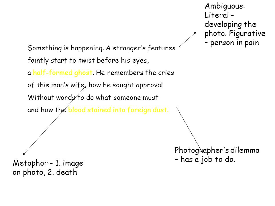 Ambiguous: Literal – developing the photo. Figurative – person in pain