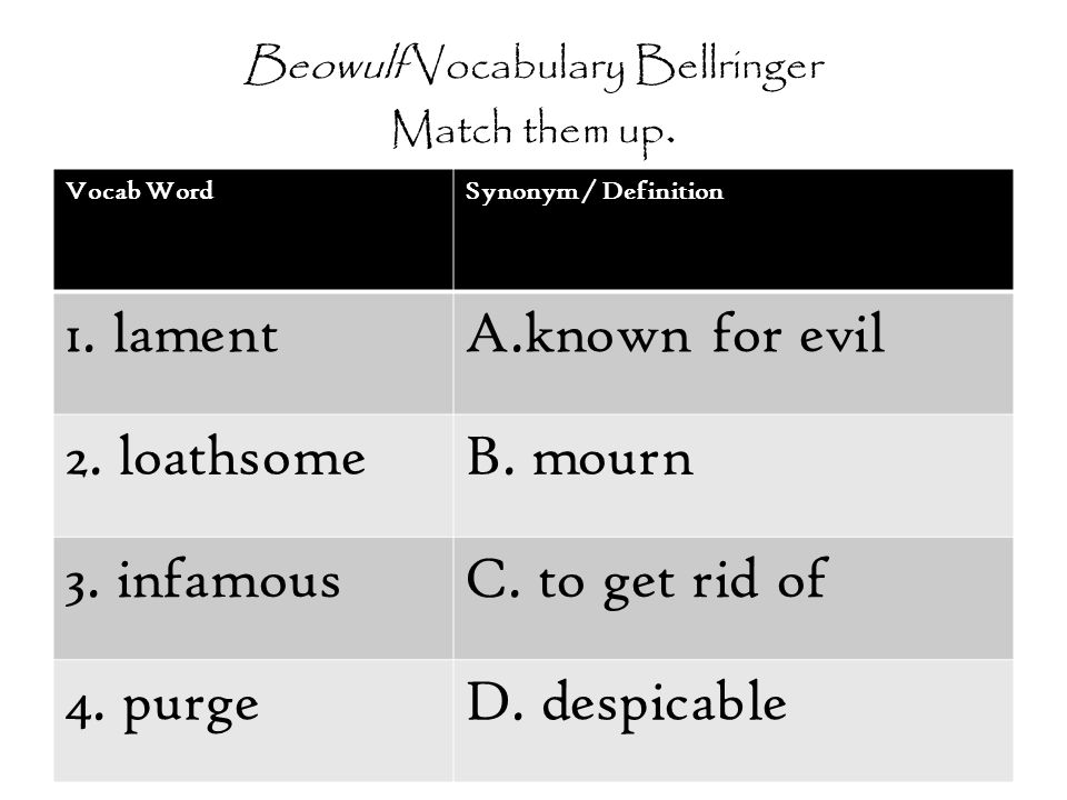 Beowulf Vocabulary Bellringer Match them up.
