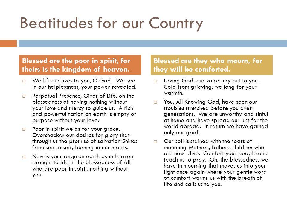 Beatitudes for our Country