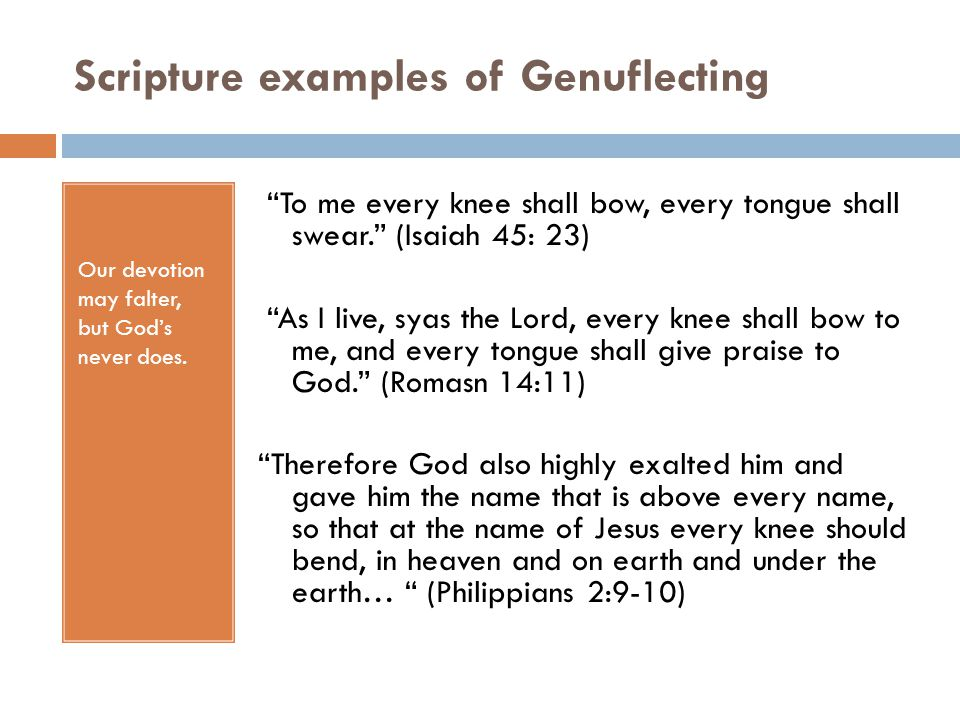 Scripture examples of Genuflecting