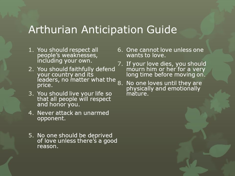 Arthurian Anticipation Guide