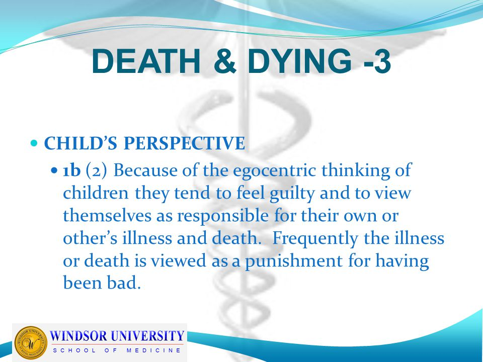 DEATH & DYING -3 CHILD'S PERSPECTIVE