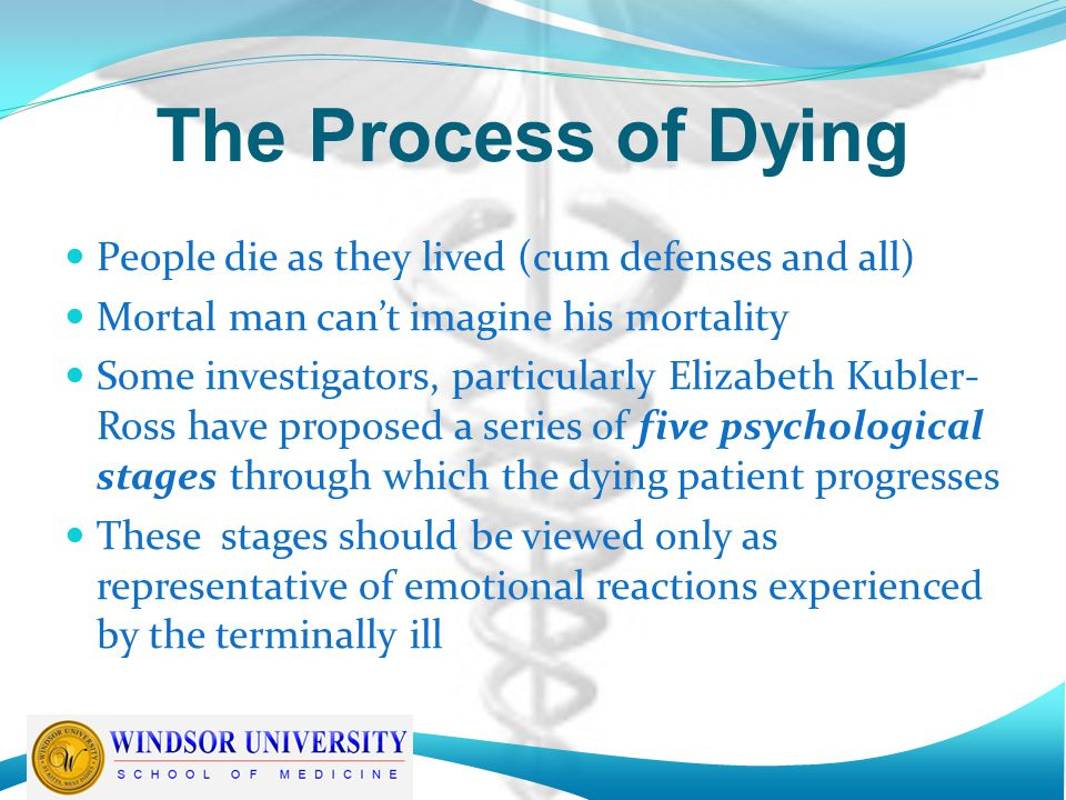 The Process of Dying People die as they lived (cum defenses and all)