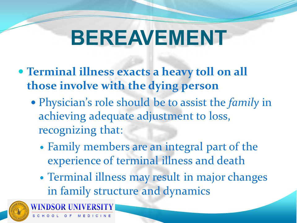 BEREAVEMENT Terminal illness exacts a heavy toll on all those involve with the dying person.