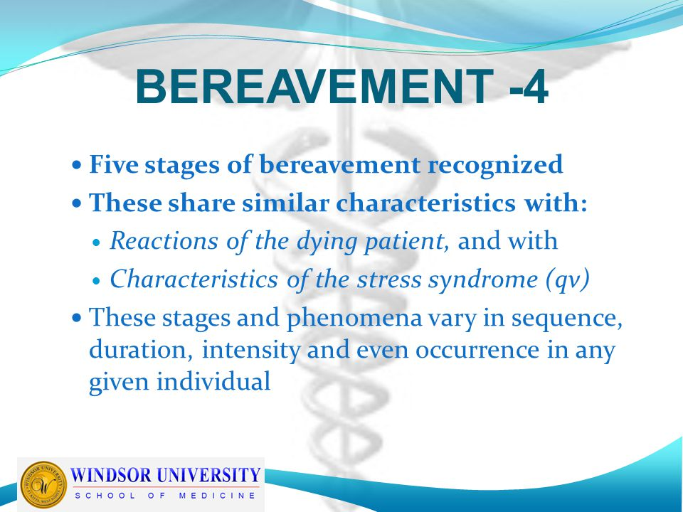 BEREAVEMENT -4 Five stages of bereavement recognized