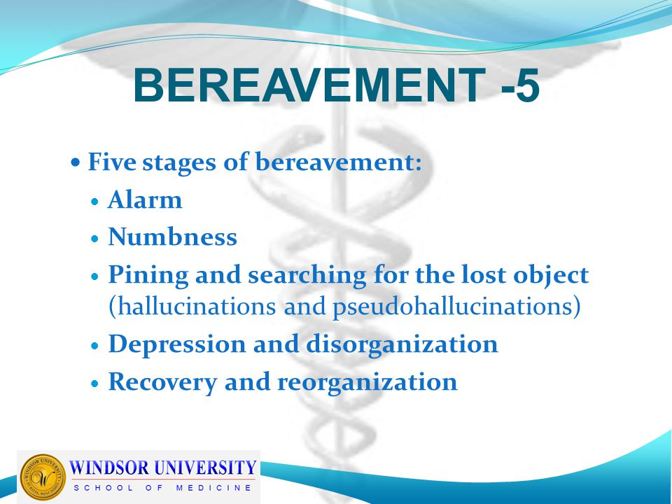 BEREAVEMENT -5 Five stages of bereavement: Alarm Numbness