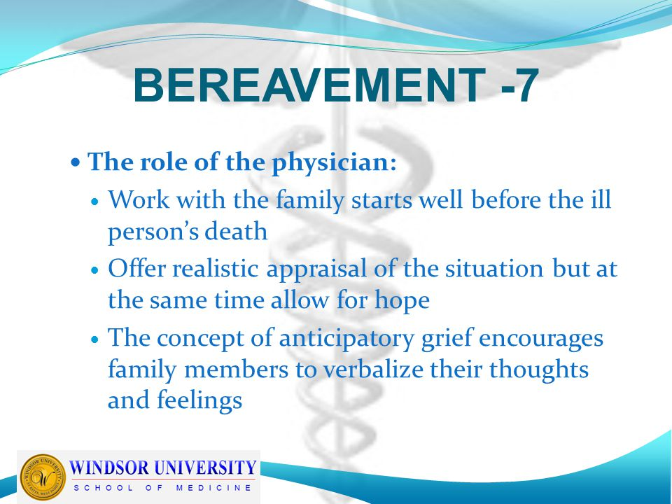 BEREAVEMENT -7 The role of the physician: