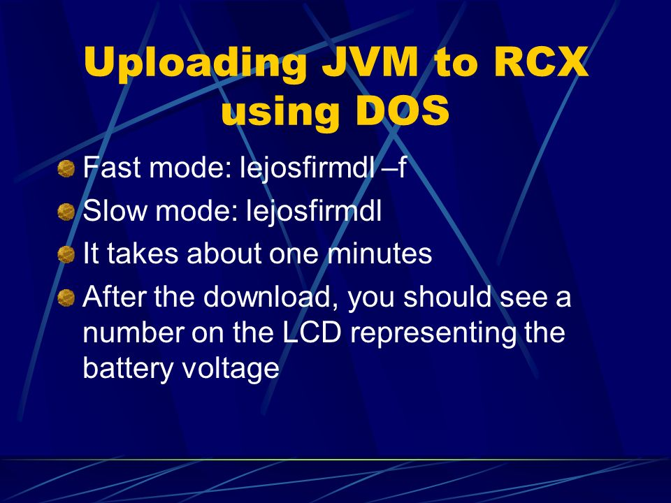 Uploading JVM to RCX using DOS