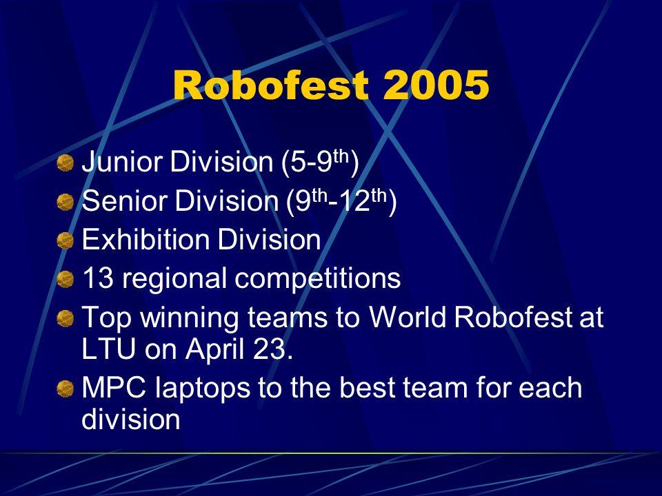 Robofest 2005 Junior Division (5-9th) Senior Division (9th-12th)