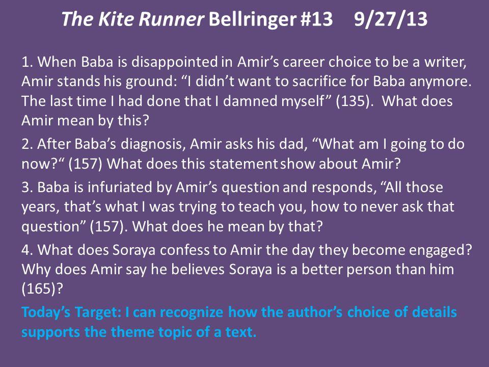 The Kite Runner Bellringer #13 9/27/13