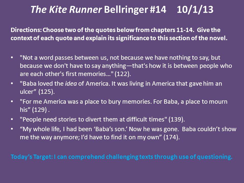 The Kite Runner Bellringer #14 10/1/13