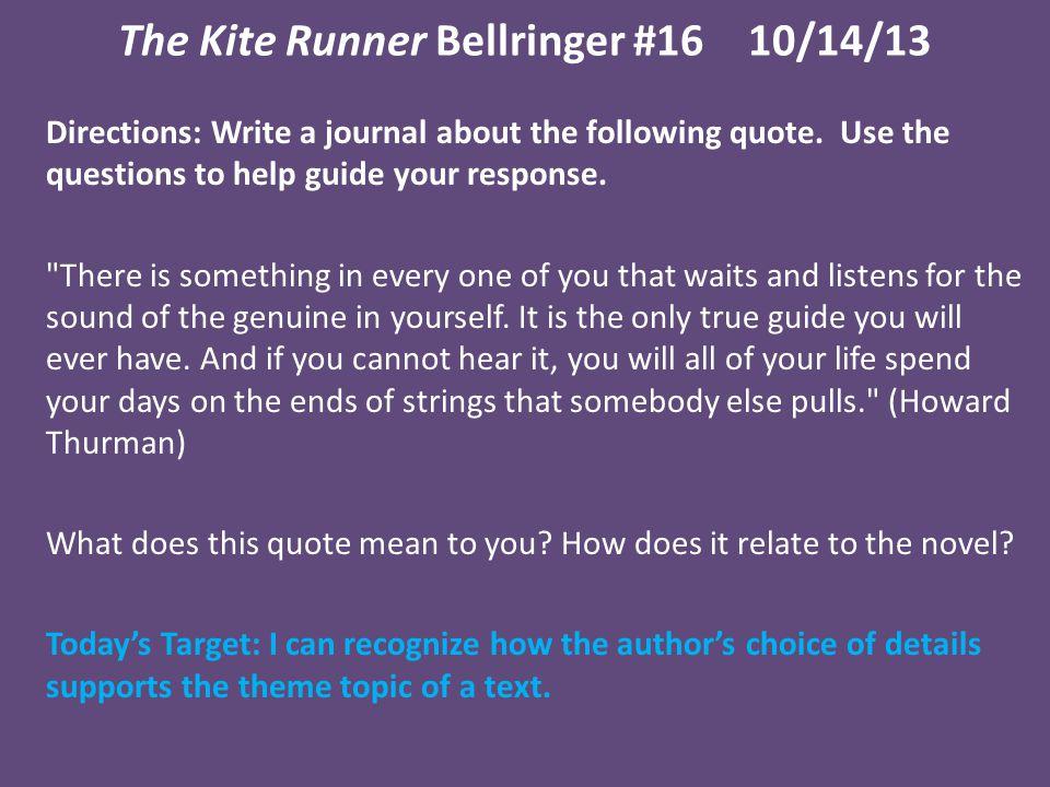 The Kite Runner Bellringer #16 10/14/13