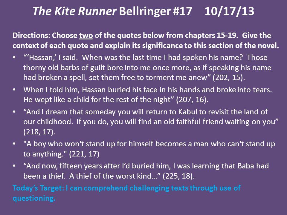 The Kite Runner Bellringer #17 10/17/13