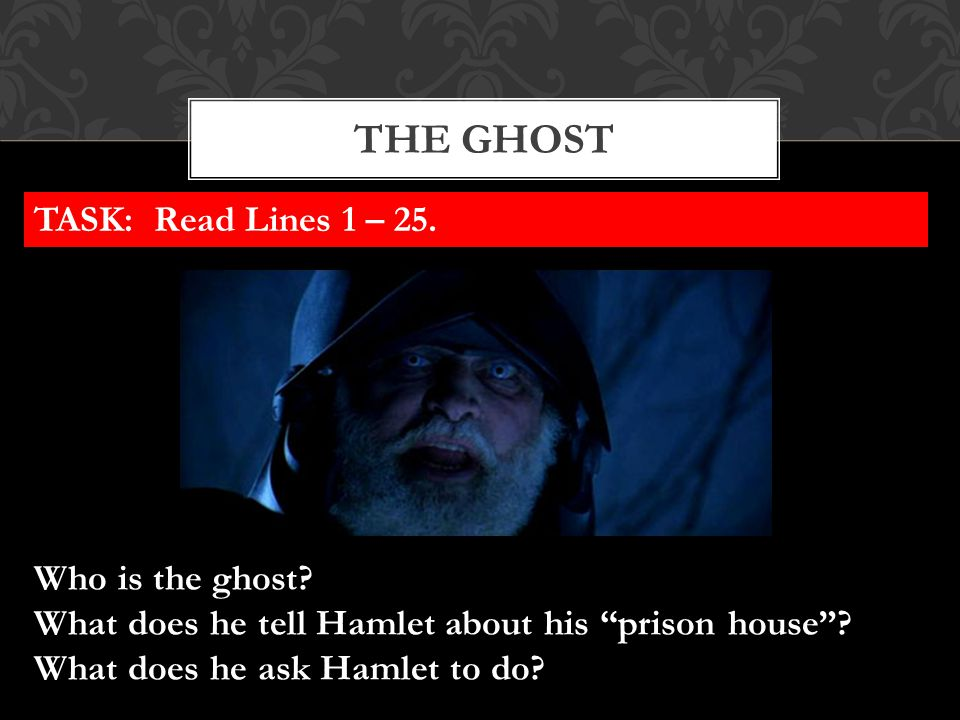The ghost TASK: Read Lines 1 – 25. Who is the ghost