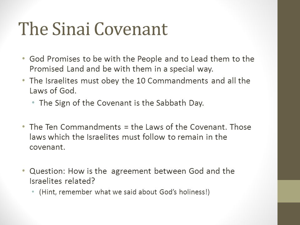 The Sinai Covenant God Promises to be with the People and to Lead them to the Promised Land and be with them in a special way.