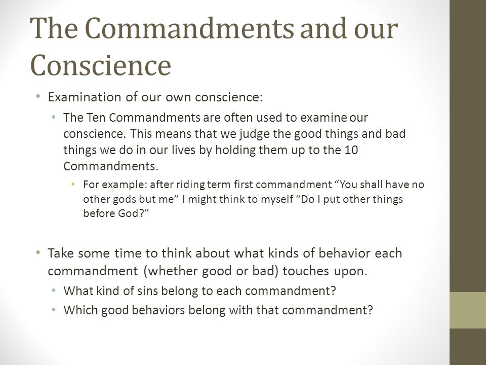 The Commandments and our Conscience