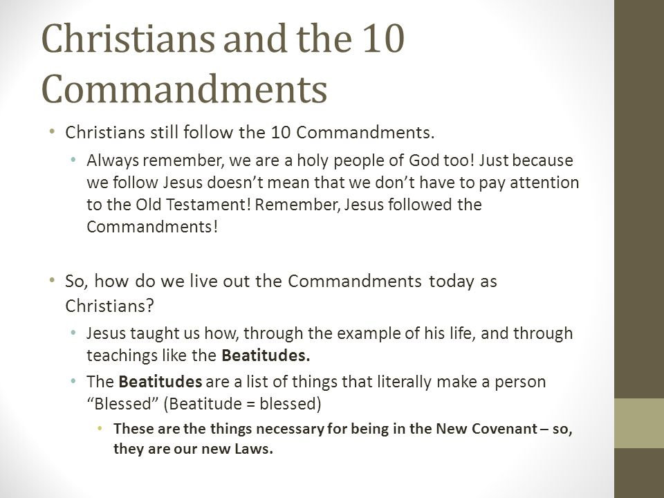 Christians and the 10 Commandments
