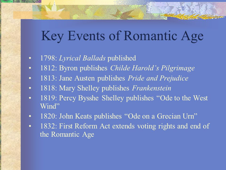 Key Events of Romantic Age