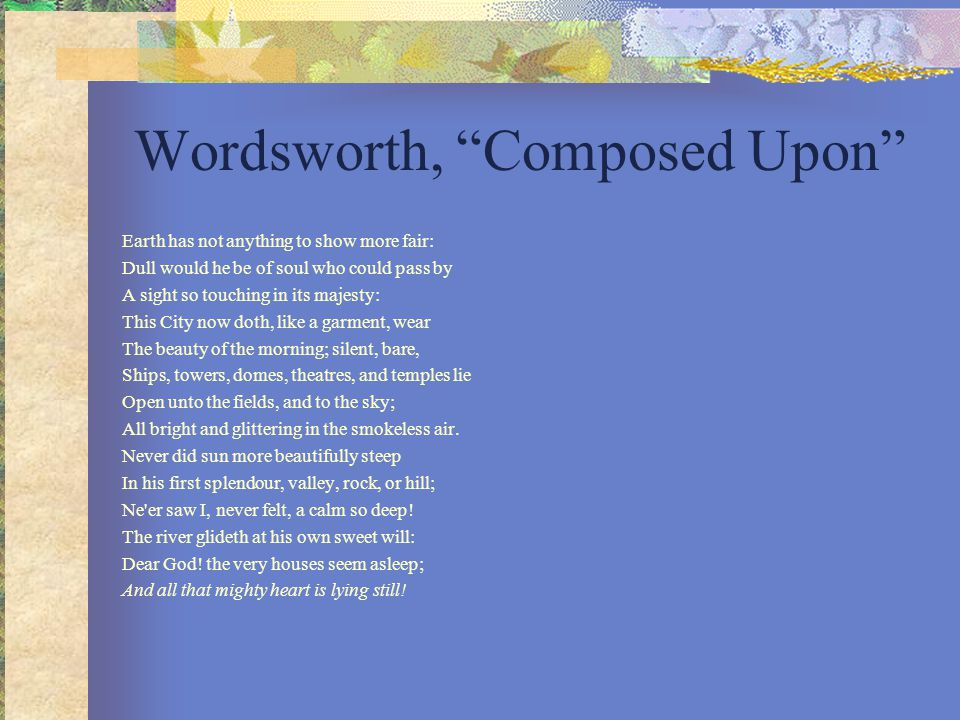 Wordsworth, Composed Upon