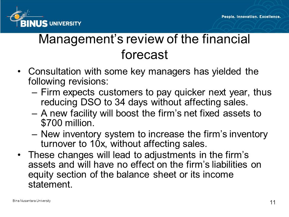 Management's review of the financial forecast