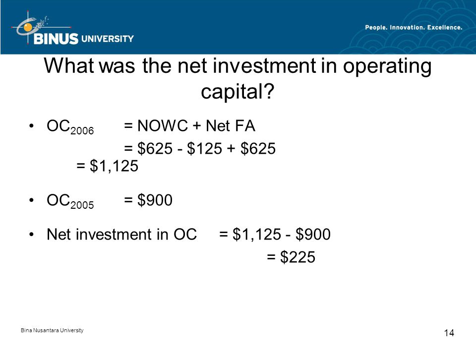 What was the net investment in operating capital