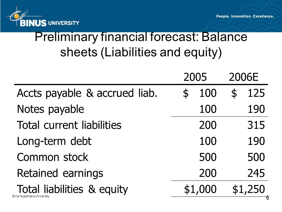 Preliminary financial forecast: Balance sheets (Liabilities and equity)