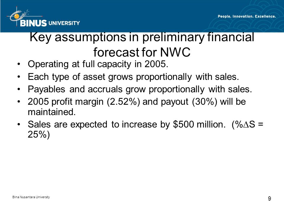 Key assumptions in preliminary financial forecast for NWC