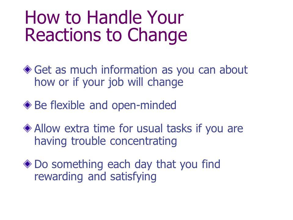 Dysfunctional Behaviors On The Job - Reacting To Change