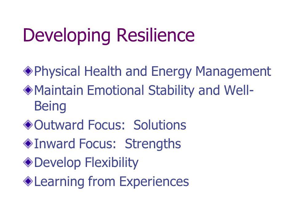 Physical Resilience Energy Management Regaining (Energizing)