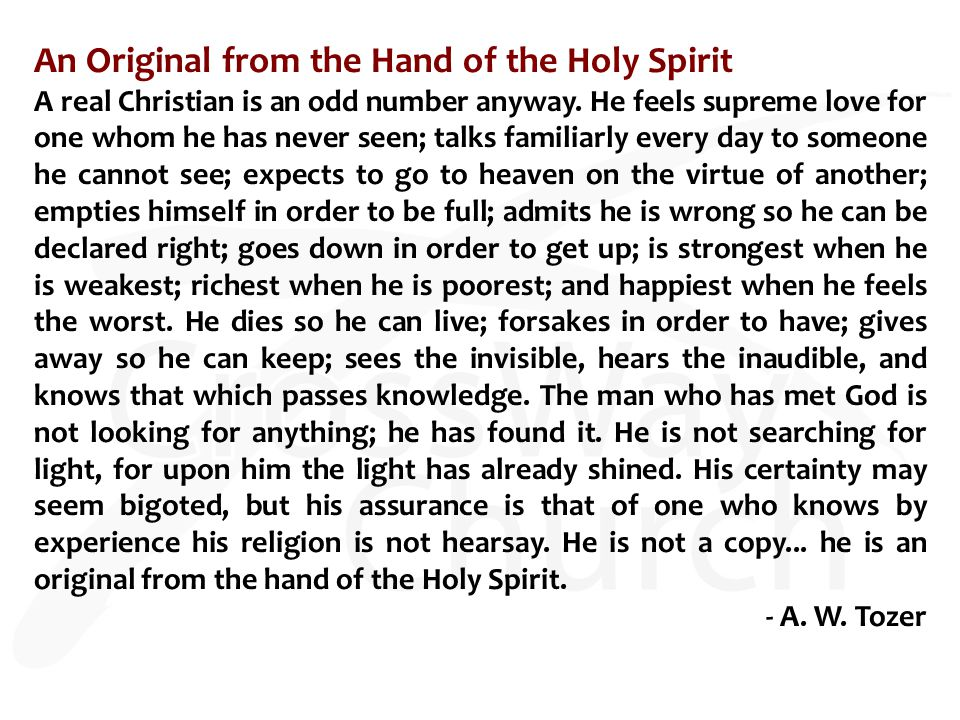 An Original from the Hand of the Holy Spirit