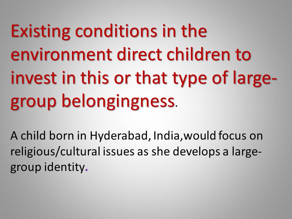 Existing conditions in the environment direct children to invest in this or that type of large-group belongingness.