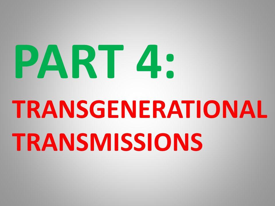 PART 4: TRANSGENERATIONAL TRANSMISSIONS