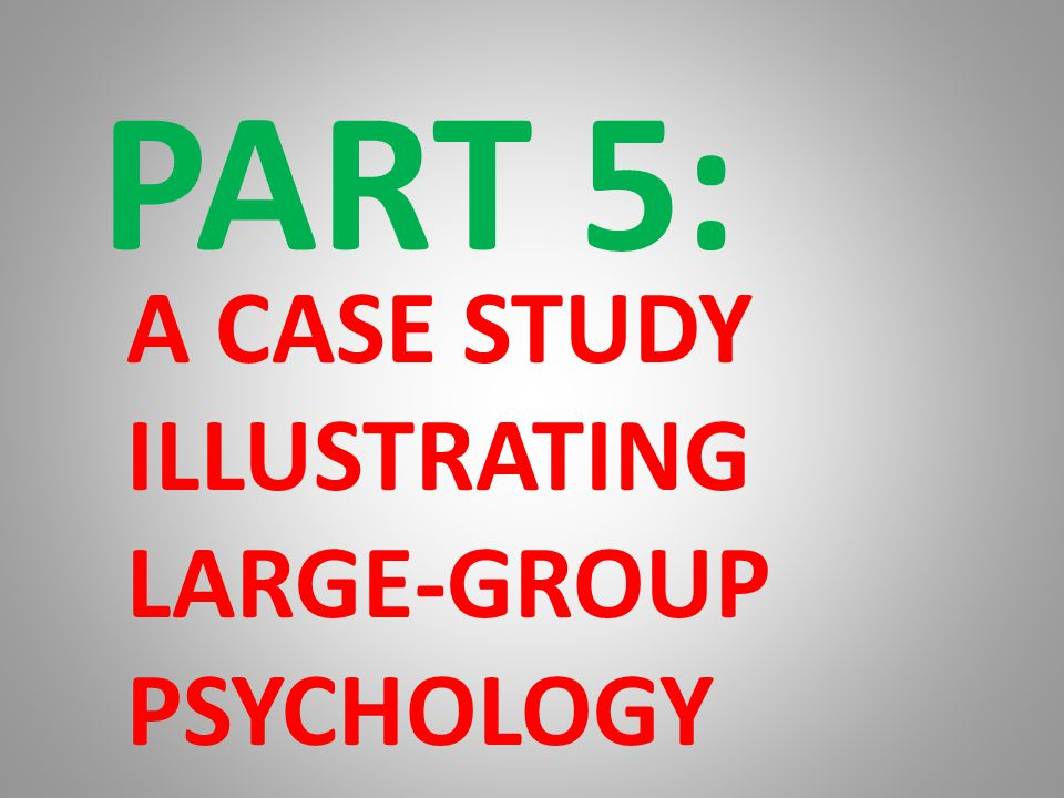 PART 5: A CASE STUDY ILLUSTRATING LARGE-GROUP PSYCHOLOGY TIME COLLAPSE