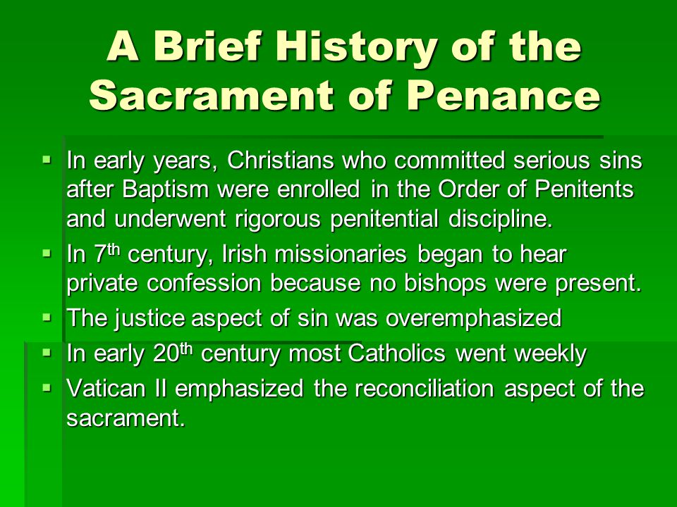 A Brief History of the Sacrament of Penance