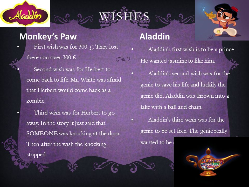 Wishes Monkey's Paw Aladdin