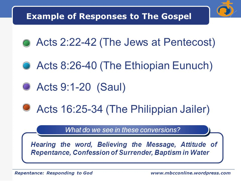 Example of Responses to The Gospel