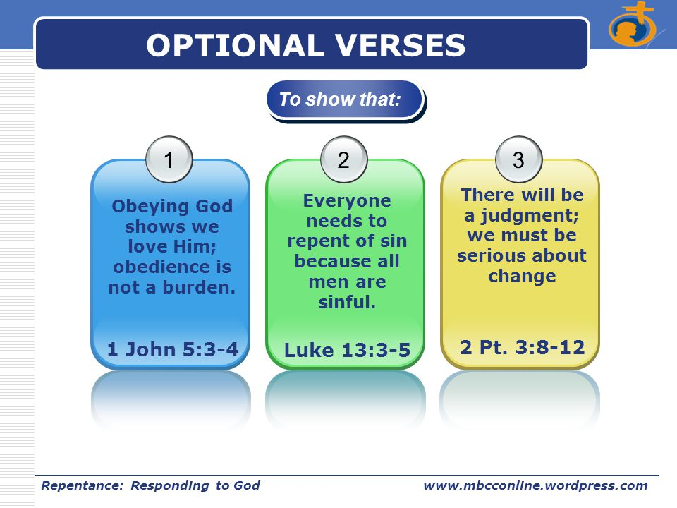OPTIONAL VERSES 1 2 3 To show that: 2 Pt. 3:8-12 Luke 13:3-5