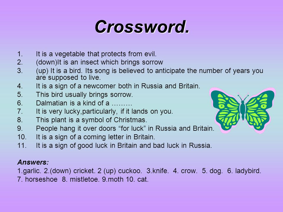 Crossword. It is a vegetable that protects from evil.