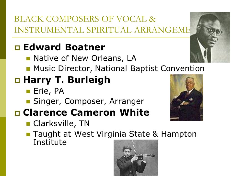 BLACK COMPOSERS OF VOCAL & INSTRUMENTAL SPIRITUAL ARRANGEMENTS