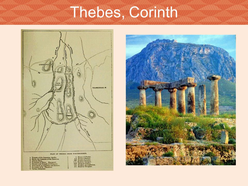 Thebes, Corinth The left image shows an ancient plan of Thebes, while the right shows the Temple of Apollo at Corinth.