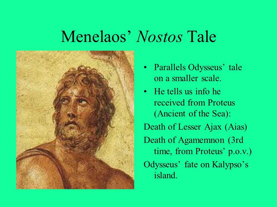 Menelaos' Nostos Tale Parallels Odysseus' tale on a smaller scale.